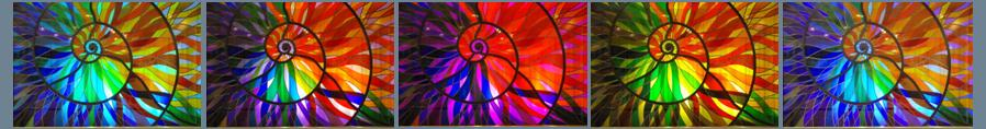 banner image: stained glass ammonite sequence